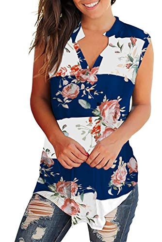(Womens Casual Tank Tops V Neck Floral Tshirt Loose Fit Navy Blue-White L)