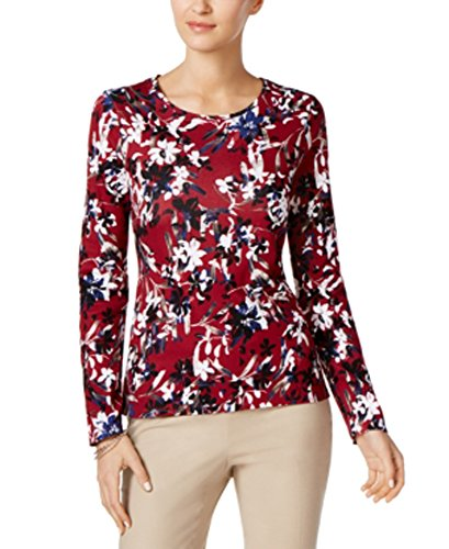 Charter Club Cotton Printed Top (Cranberry Red Combo, M)