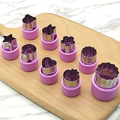 Fruits Légumes Biscuits Coupe (9 PCS)- Moule à Gâteau Inox Outil Coupe Fruit Légume Forme de Fleur (Rose)