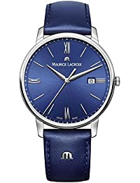 Men's 'Eliros' Quartz Stainless Steel and Leather Casual Watch, Color:Blue (Model: EL1118-SS001-410-1)