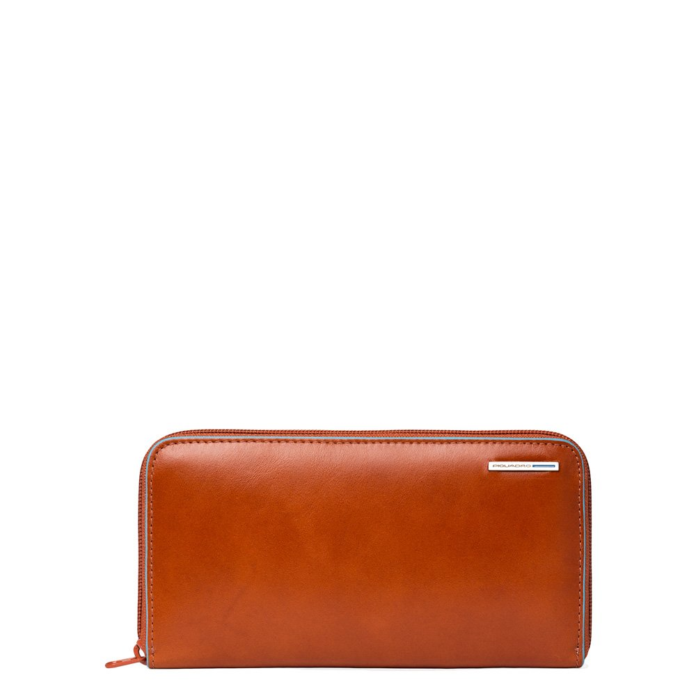 Piquadro Woman's Wallet In Leather, Orange, One Size