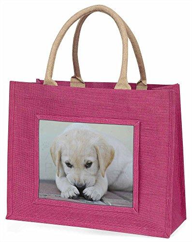 Advanta creme Labrador Puppy große Einkaufstasche Weihnachten Geschenk Idee, Jute, Rosa, 42x 34,5x 2cm