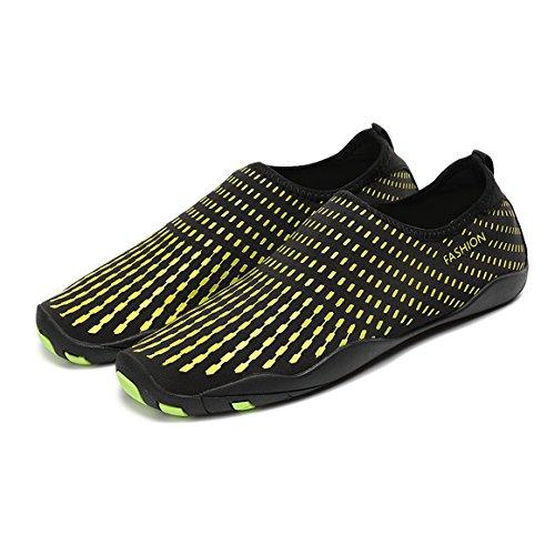 FOUPLER Men Womens Mutifunctional Quick Dry Skin Water Shoes Or Aqua Socks For Swim Yoga Beach Pool 2.yellow K2eDLNFS
