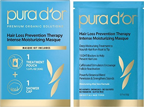 PURA D'OR Hair Loss Prevention Therapy Masque (1 Pouch + 1 Conditioning Cap) Intense Moisturizing Conditioner Hair Mask Treatment Organic Argan Oil & Biotin