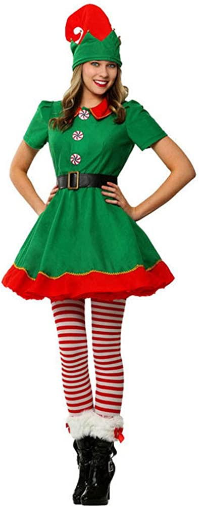 YFPICO Costume di Natale Costume da Elfo Natalizio Bambino Cosplay Abbigliamento Genitore-Figlio Costume Adulto