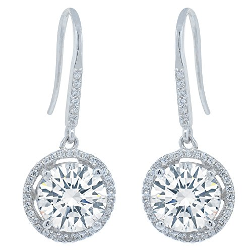 Amazon Prime Deal - Robert Matthew Jade Silver Dangle Earrings, Pure .925 Sterling Silver with CZ Round Crystal, Dangling Earring Set, Cubic ZIrconia Halo Earrings, Wedding Jewelry MSRP - 145 by ROBERT MATTHEW