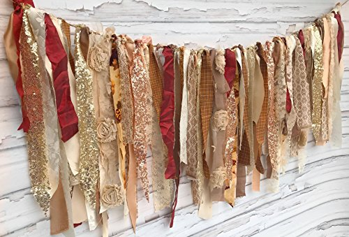 Rose Gold Autumn Shabby Chic Rag Tie Garland: ~ Photo Shoot ~ Wedding ~ Birthday ~ Nursery ~ Bridal Shower ~ Highchair Banner ~ Gender Reveal Parties ~ Decorations ~ Wall Decor! (8 FEET WIDE) by Modern Rag Quilts