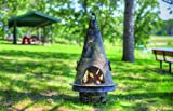 The Blue Rooster Co. Garden Style Cast Aluminum Wood Burning Chiminea in Gold Accent.