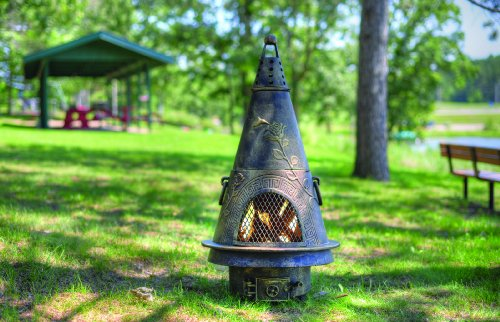 The Blue Rooster Co. Garden Style Cast Aluminum Wood Burning Chiminea in Gold - Fireplace Gold Cast Screen Aluminum