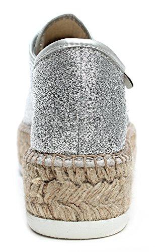 Donna Silver Corda 088100 con Piattaforma in Sneakers Basse Victoria Scarpe Argento p6nfUU