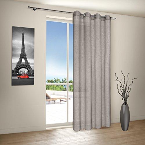 Vorhang / Gardine / Ösenschal IBIZA / B/H: 140x235cm / Halbtransparente Qualität / Effekt-Webware (grau)