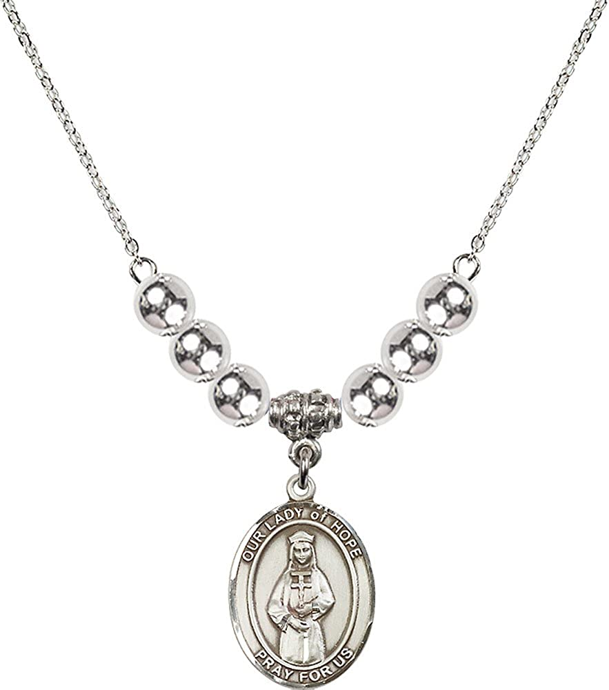 18-Inch Rhodium Plated Necklace with 6mm Sterling Silver Beads and Sterling Silver Our Lady of Hope Charm.