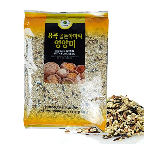 ROM AMERICA 8 Eight Mixed Grains with Goden Flax Seeds Sweet Brown Rice Whole Barley 4 Pound - 8곡 아마씨 영양미 잡곡 from ROM AMERICA