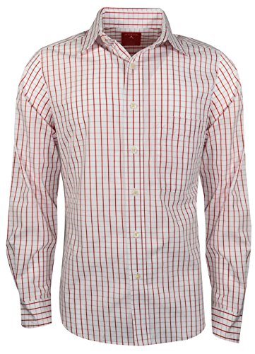 Antigua- Affiliate Long Sleeve Woven Shirt Dark Red/White Size Small