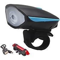 kit Lanterna Para Bike Dianteira e Traseira, Farol Diânteiro com LED e Buzina.