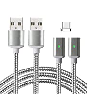 USB Type C Magnetic Charging Cable,Lively Life 2 Cables + 1 Connector Nylon Braided Charging Cable with LED Indicator for Samsung LG Huawei Google Type C Devices
