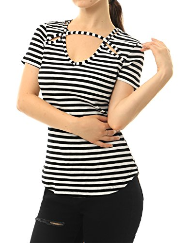 Top Deal (Allegra K Women's Cut Out Front Striped Top White L)