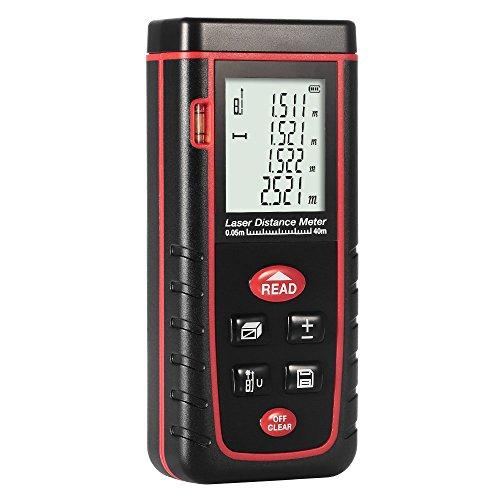 GrandBeing Tragbare Laser entfernungsmesser , distanzmesser einfach und schnell messen, Messbereich von 0,05 bis 40 /60/80m, mit zwei AAA-Batterien, Handschlaufe und Fall tragen (Schwarz 0,05 bis 40 M)