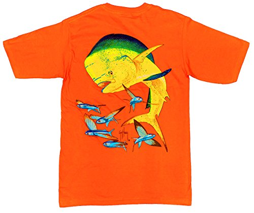 Guy Harvey Bull Dolphin Back-Print Pocket-Free Tee in Athletic Orange - Large
