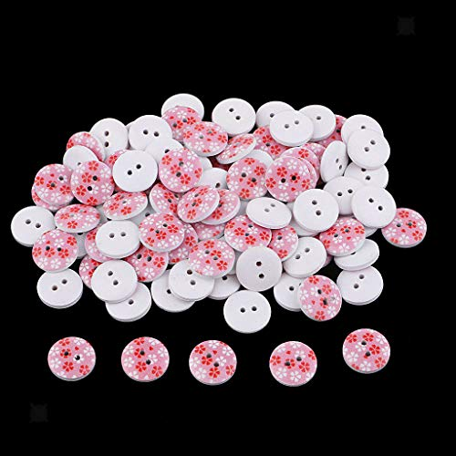 MOPOLIS 100Pcs Snowflake Handmade 2 Holes Wooden Buttons Sewing Scrapbook Cardmaking | Color - Pink