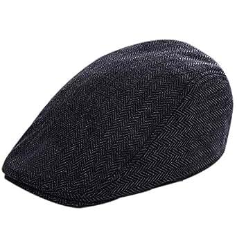 Bullidea Tweed Flat Cap Men Women's Classic Newsboy Cabbie Driving Beret Hat Duckbill Cap Warm Adjustable Black