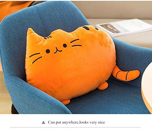 Plush Doll Cat Back Cushion Lumbar Decorative Throw Pillow Smiley Face Seat Cushion Stuffed Kids Room Decoration (Orange)