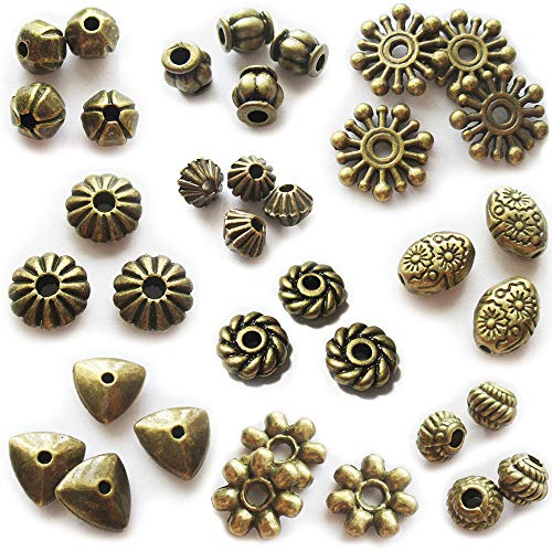 Brass Bead Caps - Heather's cf Bead Jewelry Bronze Spacer Beads Kit 300pcs Jewelry Findings Beading Assortment DIY Accessories for Bracelet Necklace Jewelry Making Bead Spacers