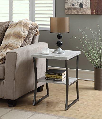 Convenience Concepts X-Calibur End Table, Faux Birch Slate Gray Frame