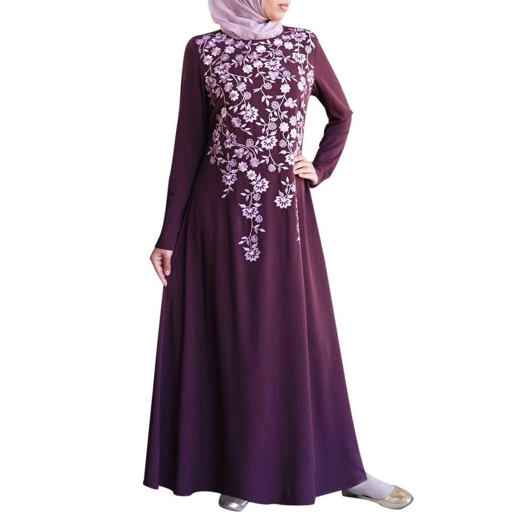 TIFENNY Long Sleeve Muslim Robes for Women Muslim Abaya Long Dress Floral Printed Vintage Kaftan Islamic Maxi Dresses Tops Purple