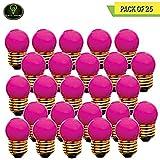 Perlite Lighting (Pack of 25) 7.5S11P/130 7.5-Watt S11 Ceramic Pink E26 Base 130-Volt Light Bulb