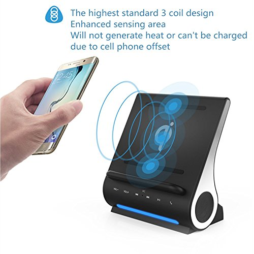 Qi Wireless Charging Docking Station Fast 15W and Bluetooth Speaker System D108 Super Bass Stereo Output 10W with Multi USB Ports for iPhone X/8/8plus iPad Android Samsung S8/S8plus by DORNLAT (Image #4)