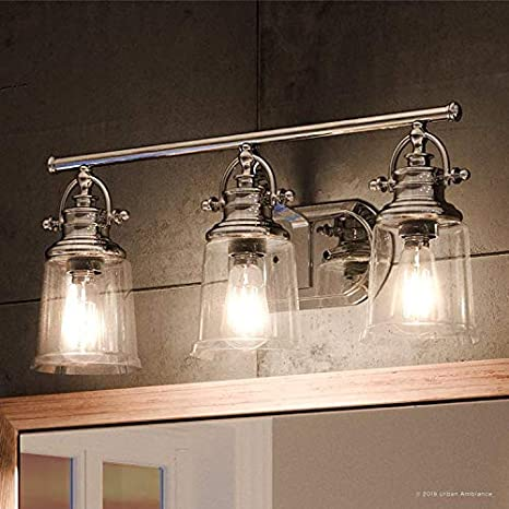 Luxury Industrial Bathroom Vanity Light Large Size 9 5 H X 23 W With Vintage Style Elements Polished Chrome Finish Uql2881 From The Salford Collection By Urban Ambiance Amazon Com