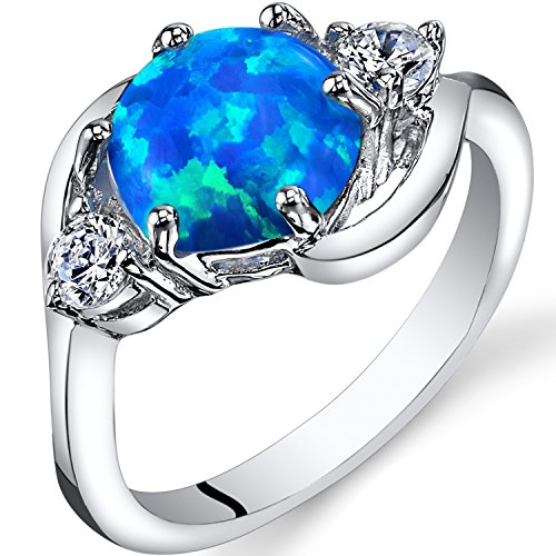 Created Blue Opal 3 Stone Ring Sterling Silver 1.25 Carats Size 6