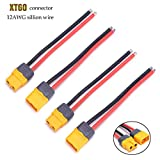 quadcopter wires - YoungRC XT60 Male Female Connector Cable with Sheath Housing Connector with 100mm 12AWG Silicon Wire for RC Lipo Battery FPV Drone ESC (4 pcs)