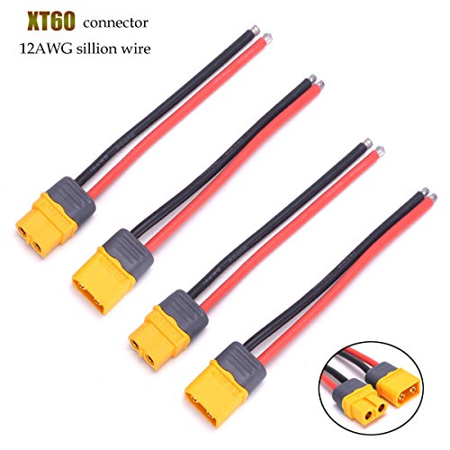 Amass XT60H Plug Male Female Connector Cable with Sheath Housing Connector with 100mm 12AWG Silicon Wire for RC Lipo Battery FPV Drone ESC (4 pcs)