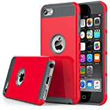 iPod Touch 5th & iPod Touch 6th Generation Case, Jwest 2in1 Style Hybrid Hard Cover Case for Apple iPod Touch 5 Generation ipod Touch 5th Generation/ipod Touch 6 Case (Red Hot)