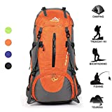 Huwaijianfeng Hiking Backpack 45+5L Waterproof Backpack Outdoor Sport Daypack with a Rain Cover for Climbing Mountaineering Fishing Travel Cycling