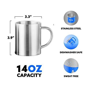 Taza de café de 400 ml - Juego de 2 jarras de café de acero ...