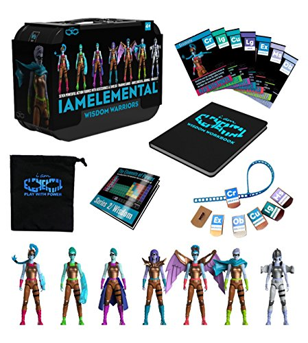 IAmElemental Series 2/Wisdom Complete Set of 7 Female Action Figures in Lunch Box Carry Case -
