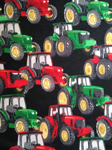 1/2 Yard - Farm Tractors on Black Non-Pill Fleece Fabric (Great for Quilting, Sewing, Craft Projects, Curtains, Pillows, Etc.) 1/2 Yard x 60