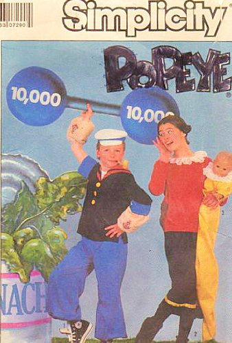 Simplicity 8831 Popeye and Olive Oyl Costume Pattern Adult Size Sm, Sweet Pea Costume Pattern Included Baby Size up to 18 Months or Doll up to 31