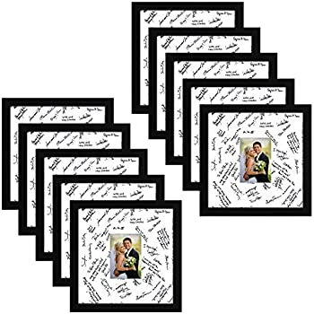 7611e87026d4 Americanflat 10 Pack - 14x14 Wedding Signature Picture Frames - Display  Pictures 5x7 with Mats - Display Pictures 14x14 Without Mats - Made with  Glass