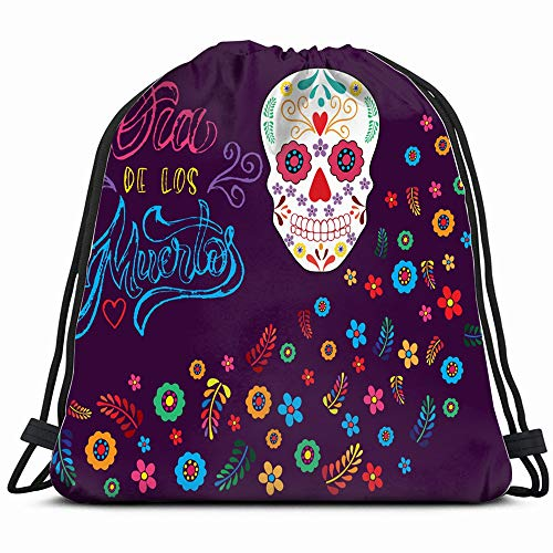 Hand Sketched Colorful Dia De Los Holidays Background Objects Drawstring Backpack Bag For Kids Boys Girls Teens Birthday, Gift String Bag Gym Cinch Sack For School And Party -