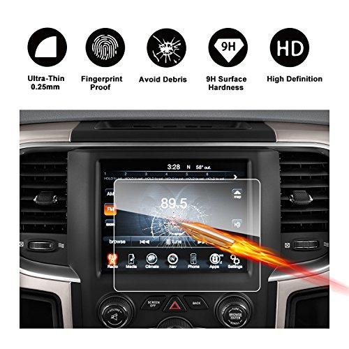2013-2018 Dodge Ram 1500 2500 3500 Uconnect Touch Screen Car Display Navigation Screen Protector, RUIYA HD Clear TEMPERED GLASS Car In-Dash Screen Protective Film (New 8.4-Inch) by R RUIYA