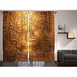 Ambesonne Egyptian Decor Collection, Egyptian Hieroglyphics Old Texts Logographic and Alphabetic Elements Design Print, Living Room Bedroom Curtain 2 Panels Set, 108 X 84 Inches, Gold