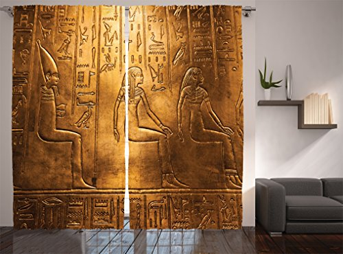 Ambesonne Egyptian Decor Collection, Egyptian Hieroglyphics Old Texts  Logographic And Alphabetic Elements Design Print, Living Room Bedroom  Curtain 2 Panels ... Part 91