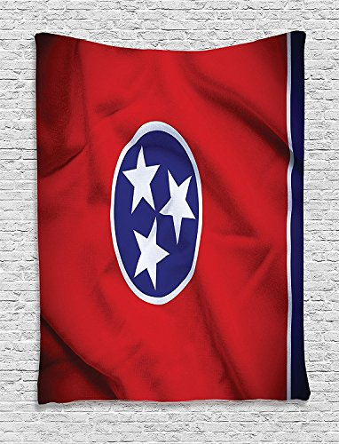 American Collection Tennessee Flag Three Stars East Middle West and Unity of the Grand Divisions Symbol Print Red Navy Supersoft Throw Fleece Blanket 59.05