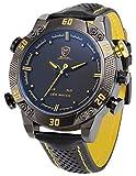 Kitefin Shark Men's LED Date Day Alarm Digital Analog Quartz Black Leather Band Wrist Watch SH263 Yellow