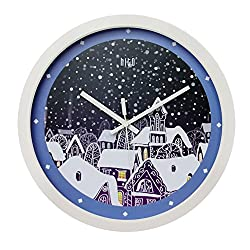 hito Silent Kids Wall Clock Non ticking 12 inch Excellent Accurate Sweep Movement, Modern Decorative for Kids Room, Kitchen, Living Room, Bathroom, Bedroom, Office (It's snowing)