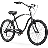 Firmstrong Chief Man Seven Speed Beach Cruiser Bicycle, 26-Inch, Matte Black